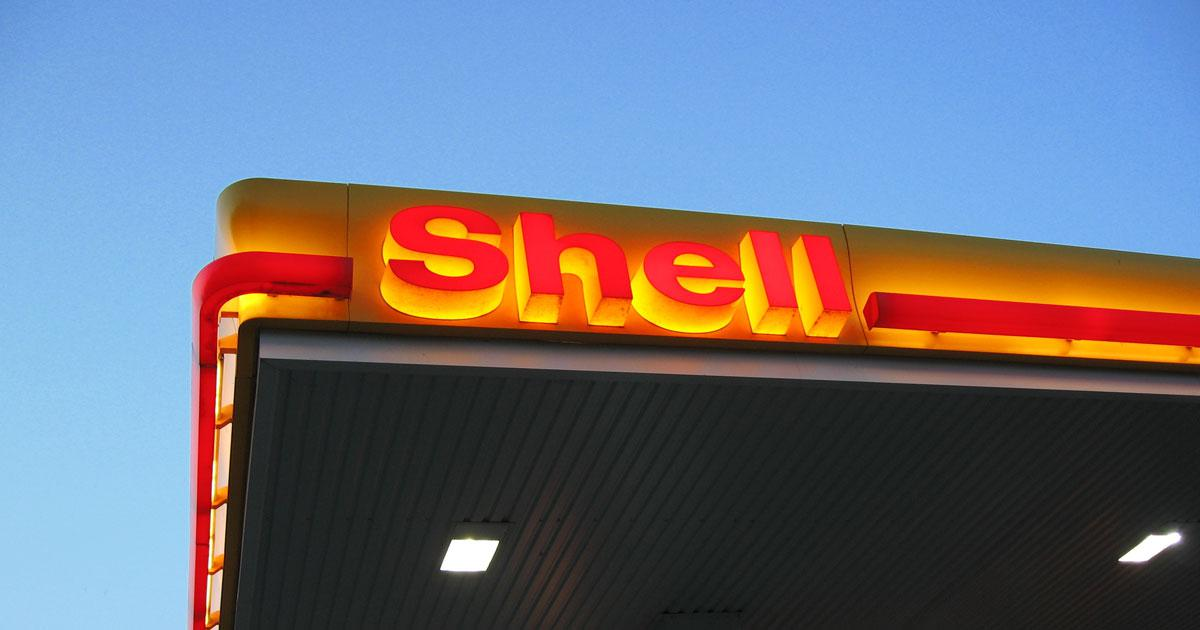 Shell sign in gas station