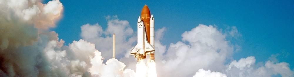 A space shuttle launch.