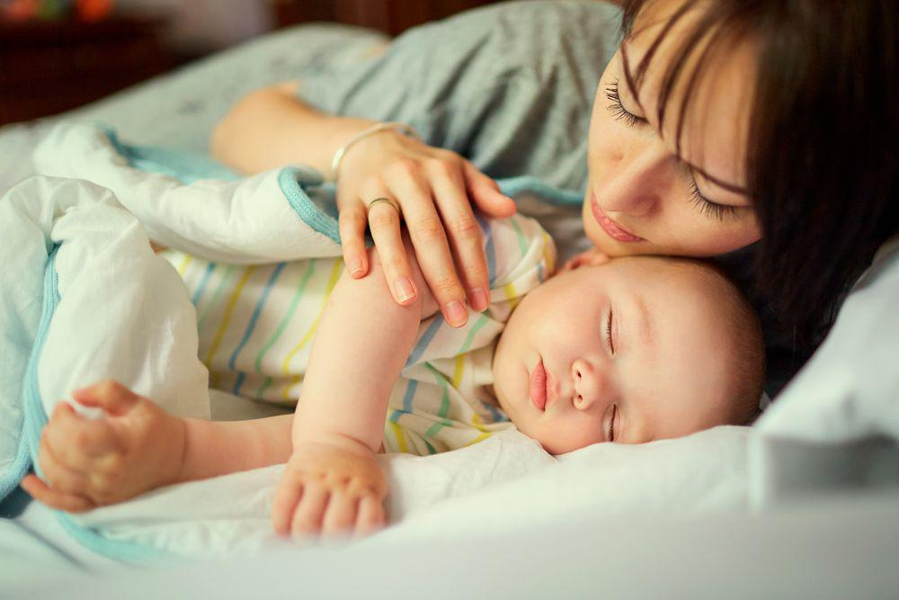 Mom Sharing Bed with Infant Newborn