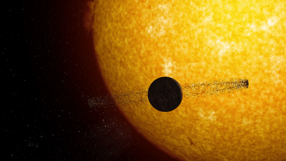 An alien planet ringed with satellites transits in front of its sun.