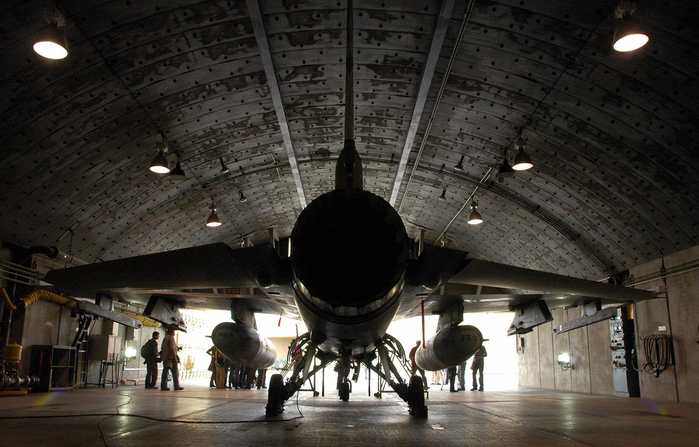 An Israeli air force F-16I fighter plane is seen at a hangar at the Ramon Air Force Base, in the Negev desert, in southern Israel, on November 19, 2008. On February 10, Syrian anti-aircraft missiles shot down an Israeli F-16, the first Israeli fighter downed since 1982.