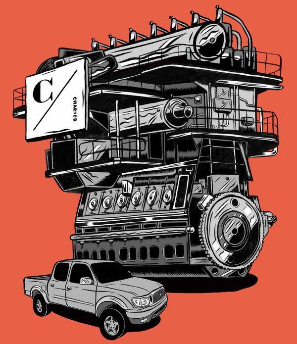 engine and pickup truck orange background