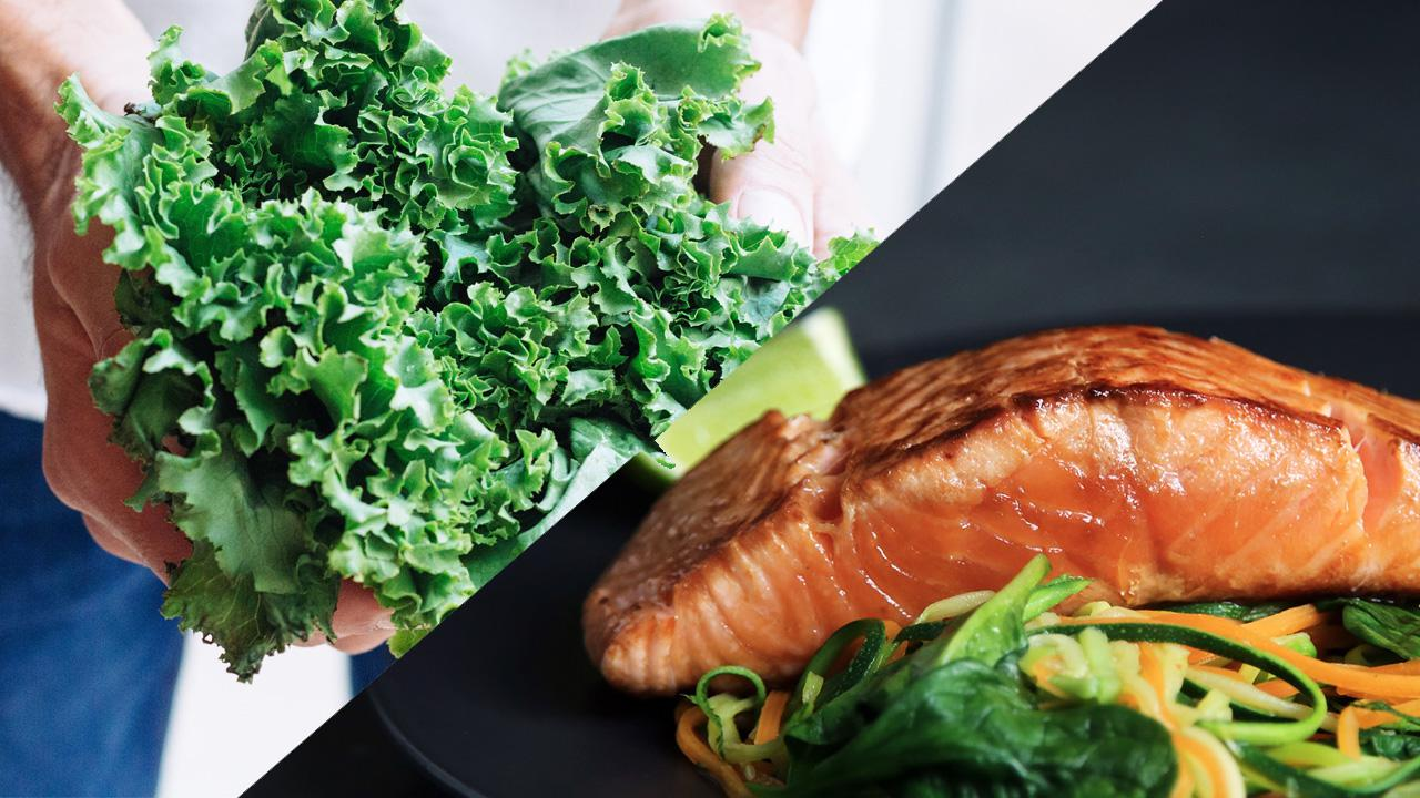 7 Insanely Healthy Foods to Fight Inflammation, by Sarah Peterson. Photographs of Kale and Salmon.