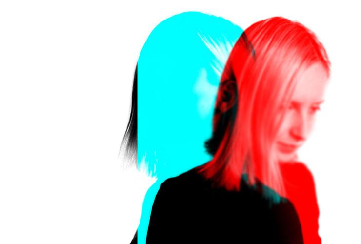 Sober Self-Esteem: Retraining Your Brain and Body to Life Without Alcohol by Georgia Foster. Photograph of woman with split red and blue effects by Jurica Koletic
