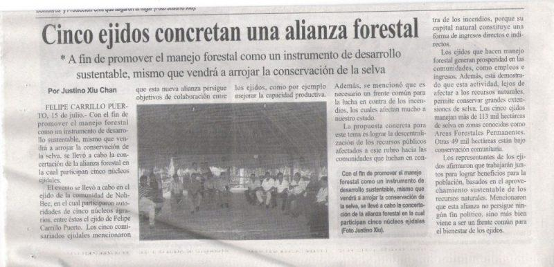 Captura de un diario local que refleja la conformación de la Alianza Selva Maya (Foto: Blog oficial de Alianza Selva Maya y reproducida con permiso)