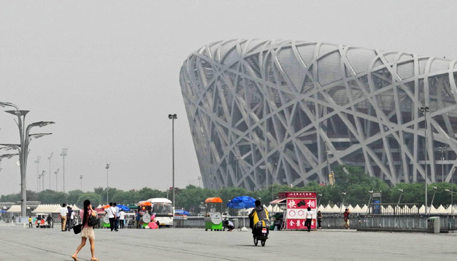 beijing birds nest in smog