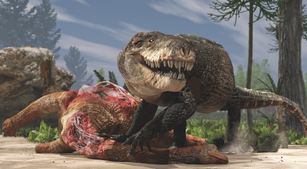 Crocodile eating dinosaur