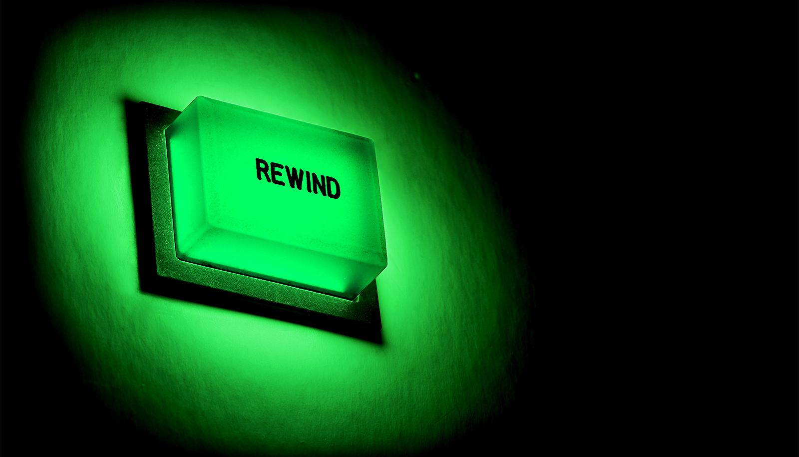 rewind button in green light (LEDs concept)