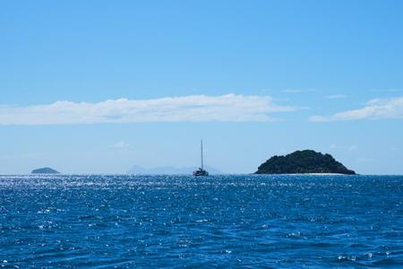 A yacht sailing in Fiji waters.