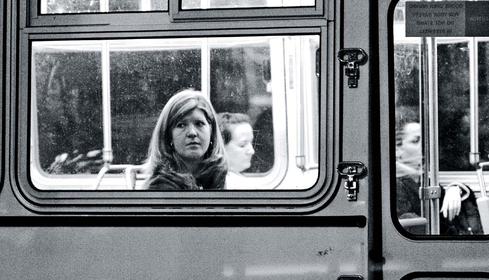 woman on the bus (working moms concept)