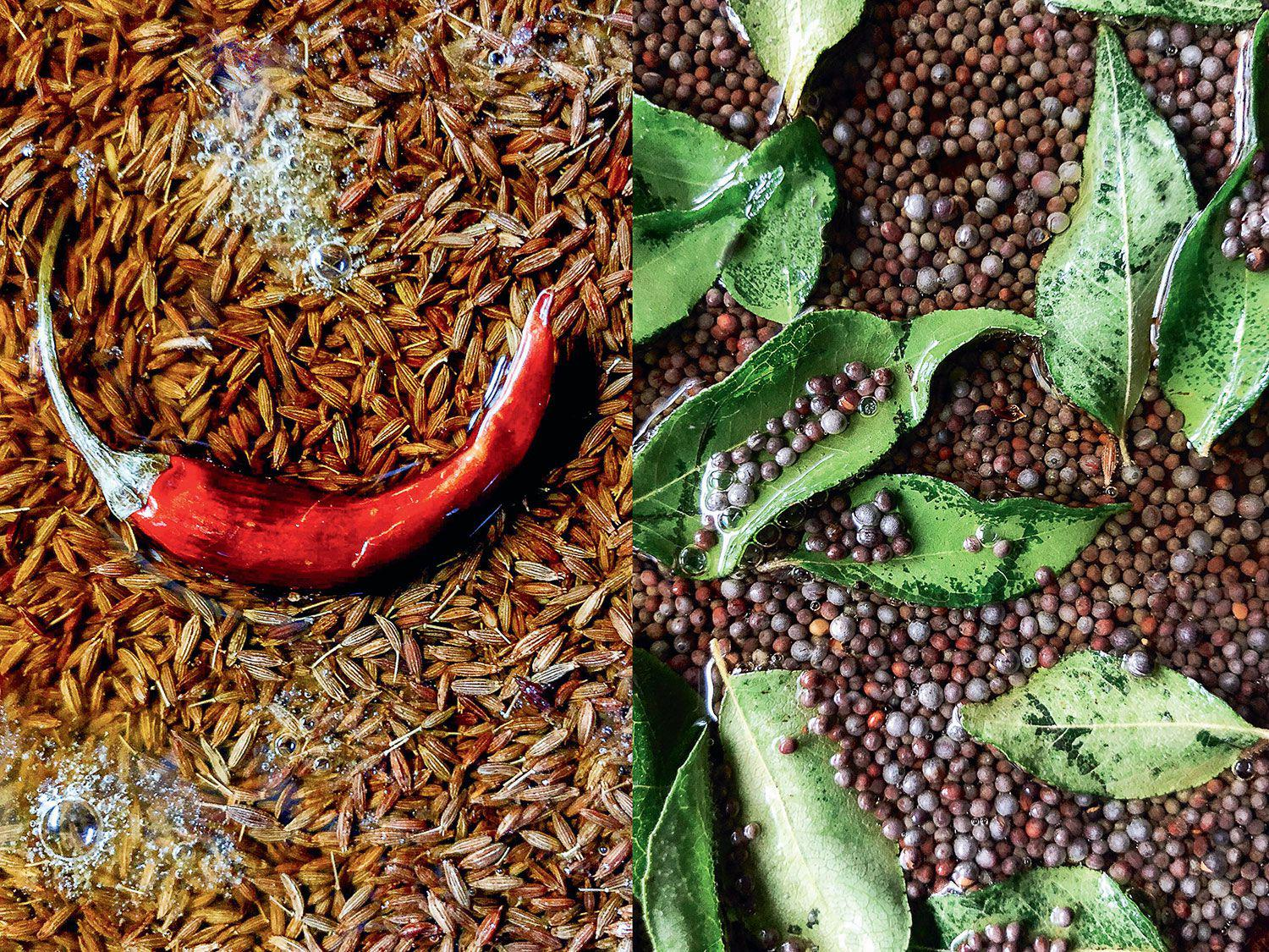 One of the simplest Indian cooking techniques to master is <em>chhonk</em>: whole spices such as cumin and chiles (left) or black mustard seeds and curry leaves (right) sizzled in oil or ghee until fragrant.