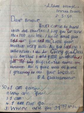 a page from muy father's school notebook