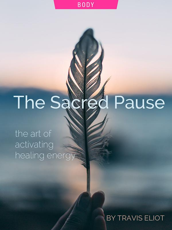 The Sacred Pause, by Travis Eliot. Photograph of bird feather by Daiga Ellaby