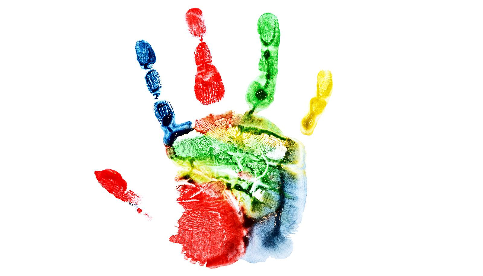 colorful handprint (proteins concept)