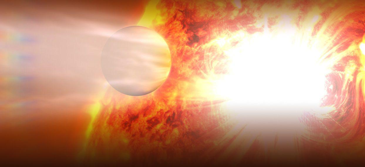 An artist's rendering of the 51 Pegasi B exoplanet migrating toward its sun. Fifty percent larger than Jupiter, it was first discovered by Michel Mayor and Didier Queloz in 1995.