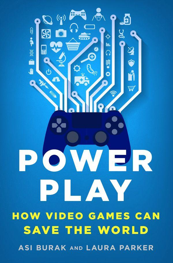 book cover, video controller on blue background