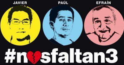A través de la campaña #NosFaltan3, los ciudadanos ecuatorianos exigían la liberación de los periodistas ecuatorianos secuestrados por disidentes de las FARC en la frontera con Colombia. Foto tomada de Notimundo.