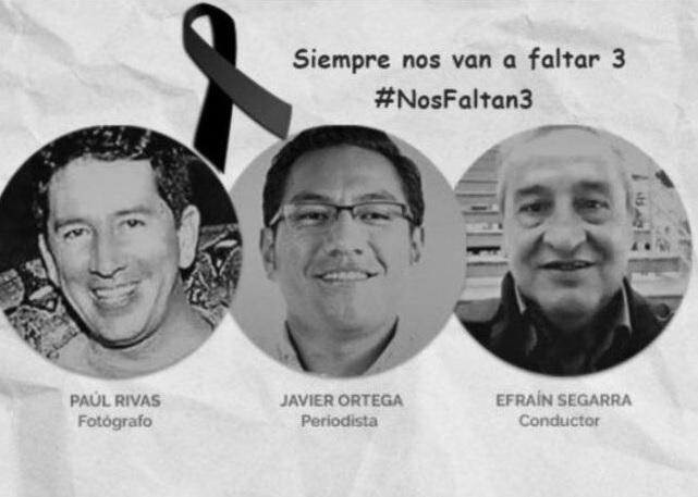 Imagen ampliamente difundida en redes sociales sobre los tres miembros del equipo periodístico del diario El Comercio asesinados.