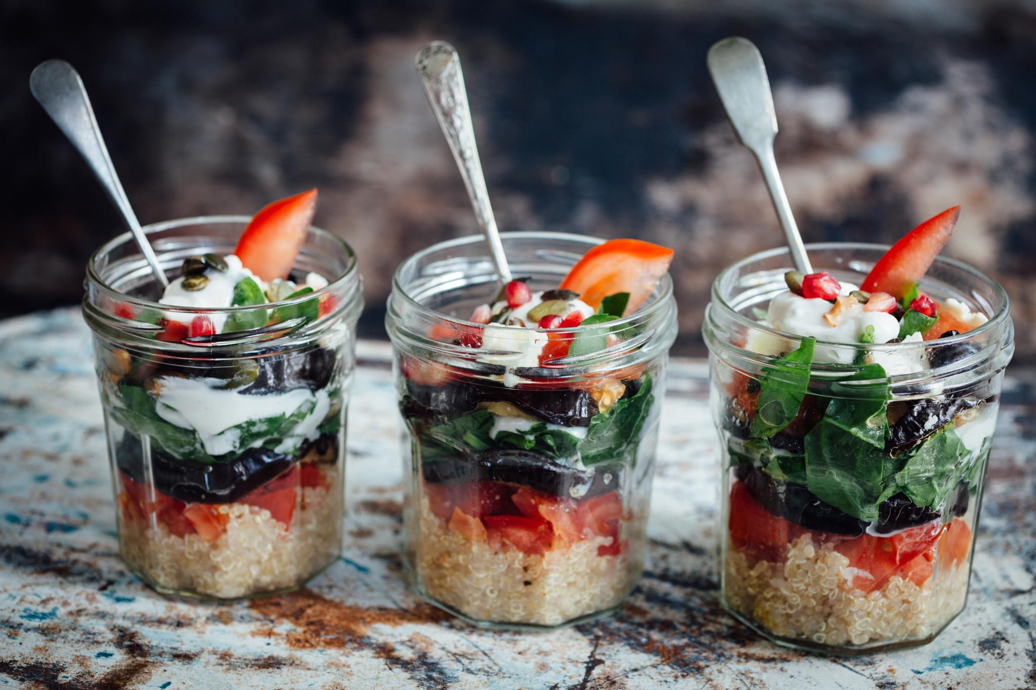 Dishes like these vegetarian veggie pots—consisting of layers of quinoa, and roasted vegetables including aubergine, red onion, red pepper, tomato, and fresh spinach leaves and topped with a Skyr (Icelandic very low fat yogurt) dressing—are supposed to be suitable for IBS sufferers. Dieticians have seen remarkable benefits in FODMAP-restricted diets for patients with IBS and other gastrointestinal disorders.