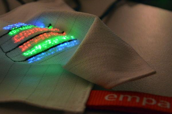 fabric with glowing embroidery