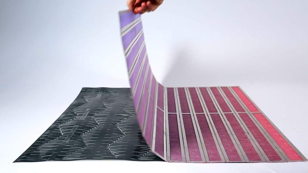 Laminated material environmentally responsive textile design