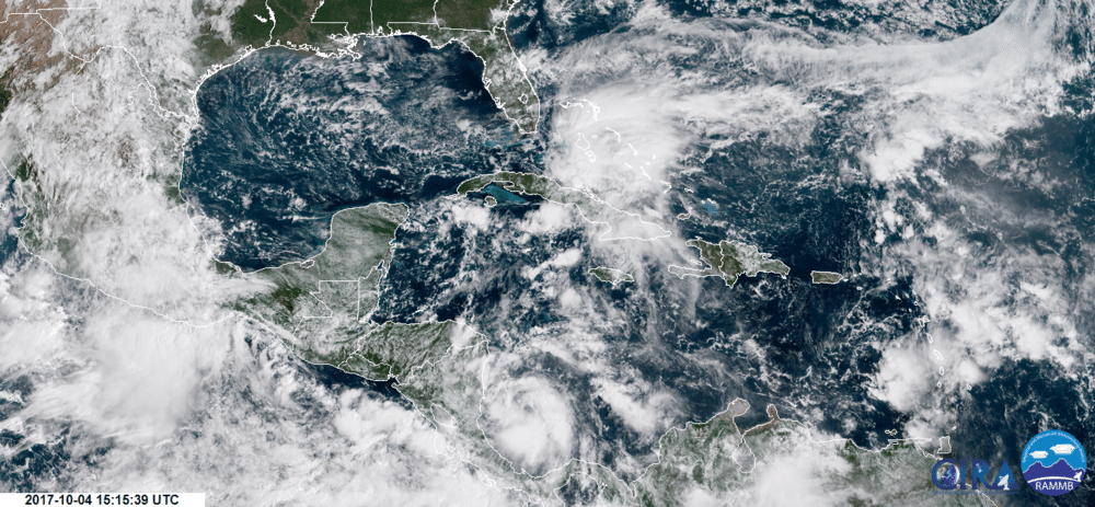 Tropical Depression Sixteen off the coast of Nicaragua on October 4, 2017.