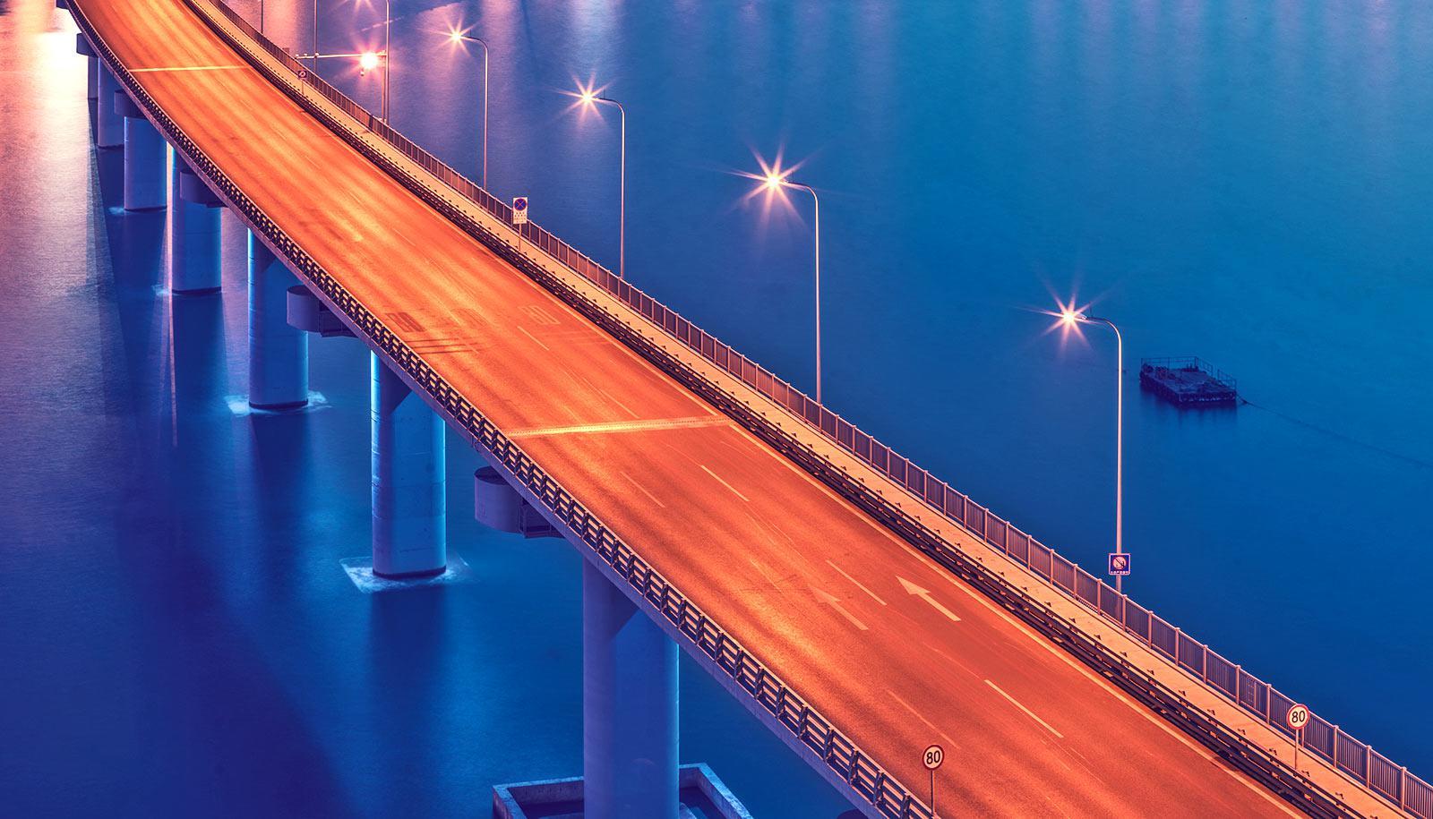 bridge under orange light