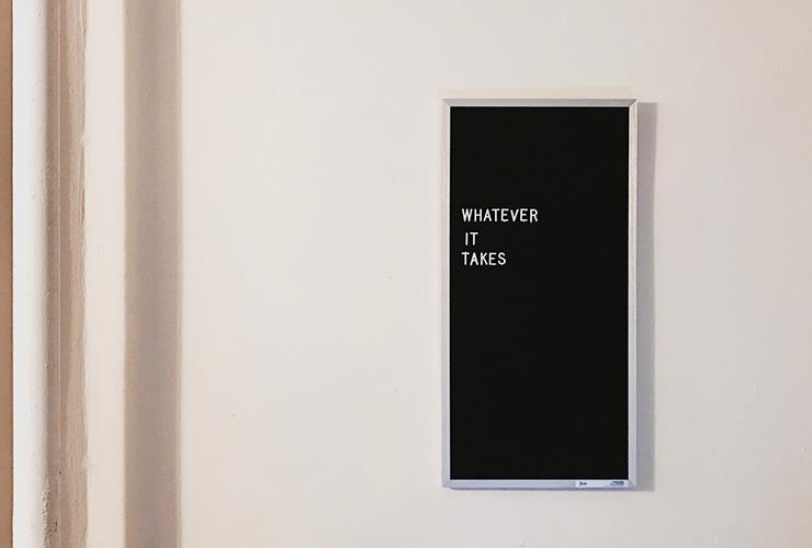 2021 — It's the Beginning of Anything You Want by Holly Schaefer. Photograph of a sign that says 'whatever it takes' by Jon Tyson
