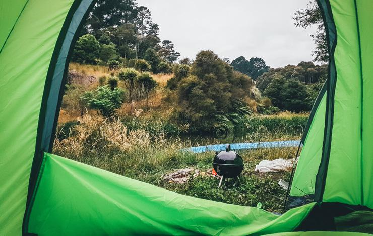 From Perfect to Poverty…and the Lesson-Filled Journey Back, by Rhiannon Rees. Photograph of inside of tent looking out by Tarn S.