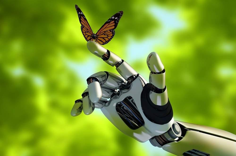 robotic hand and butterfly