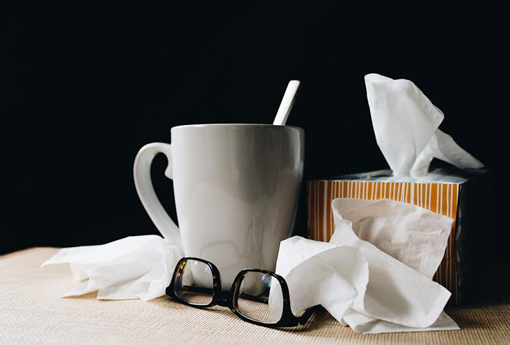 The Mental and Emotional Causes of COVID-19, by Maureen Minnehan-Jones. Photograph a box of tissues and a cup of tissue by Kelly Sikkema.
