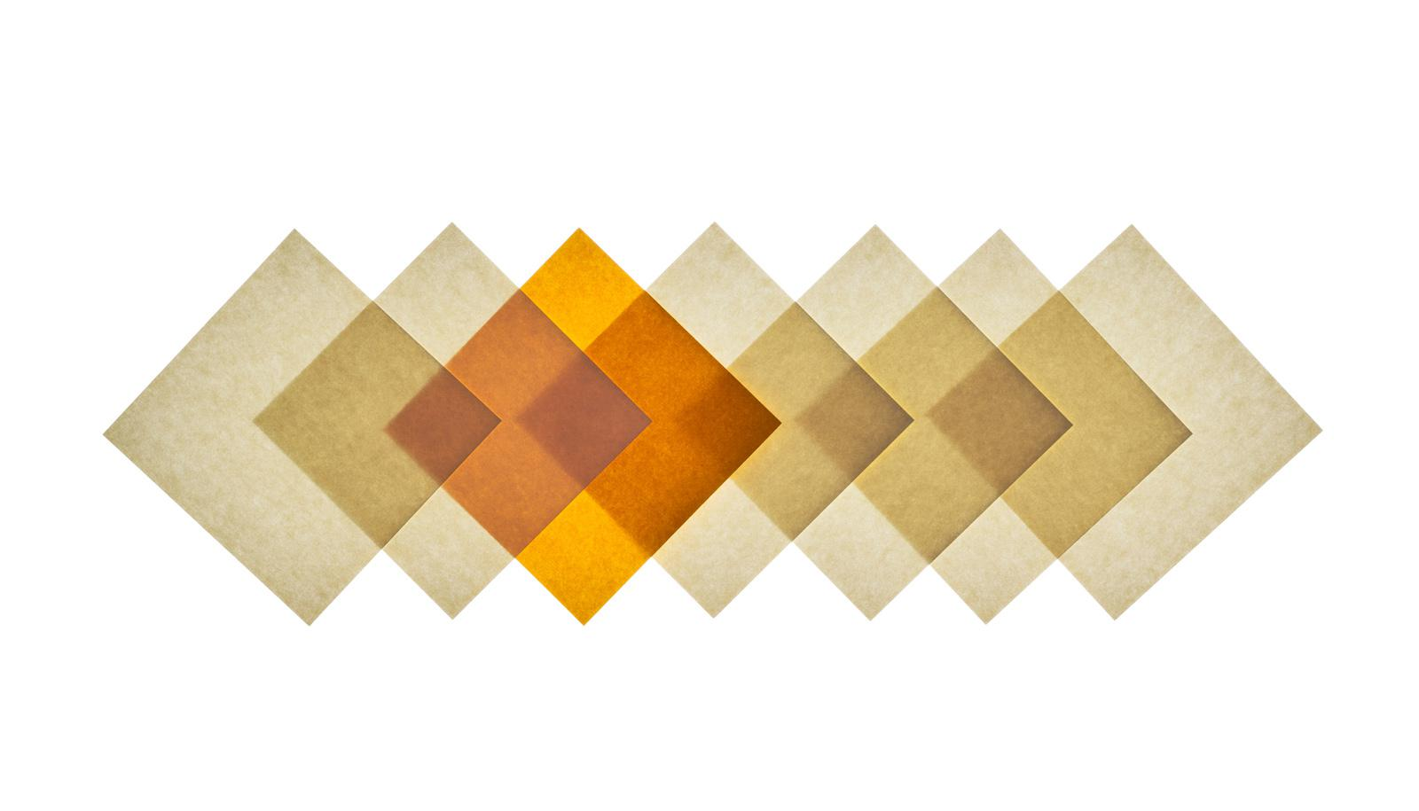 overlapping squares of beige and orange paper