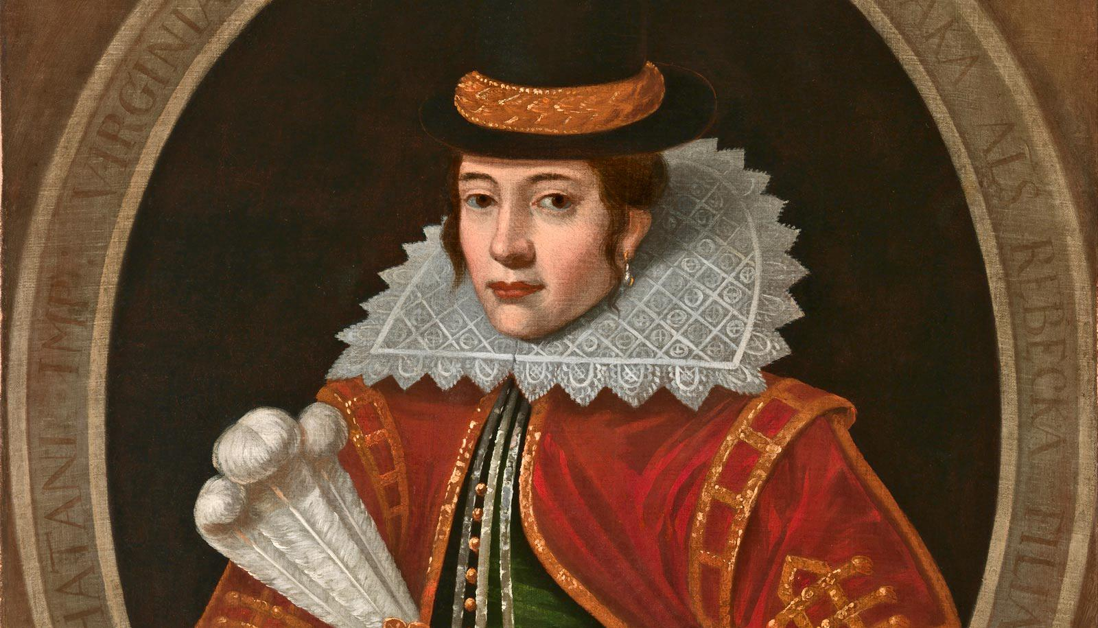 portrait of Pocahontas in English clothing