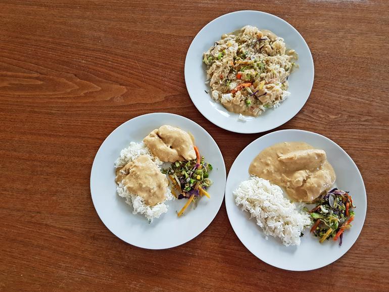 food arranged on three plates