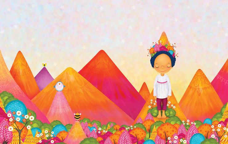 Illustration of girl standing, by Sarah Jane Hinder