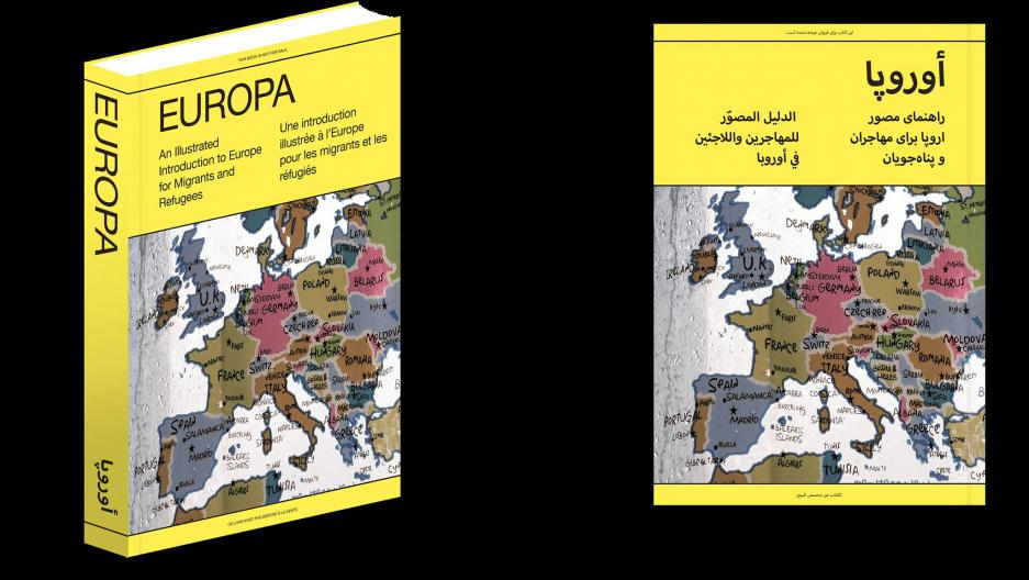 """Europa: An Illustrated Introduction to Europe for Migrants and Refugees"" tells the story of European immigration. Credit: Courtesy of the Arab Fund for Arts and Culture"