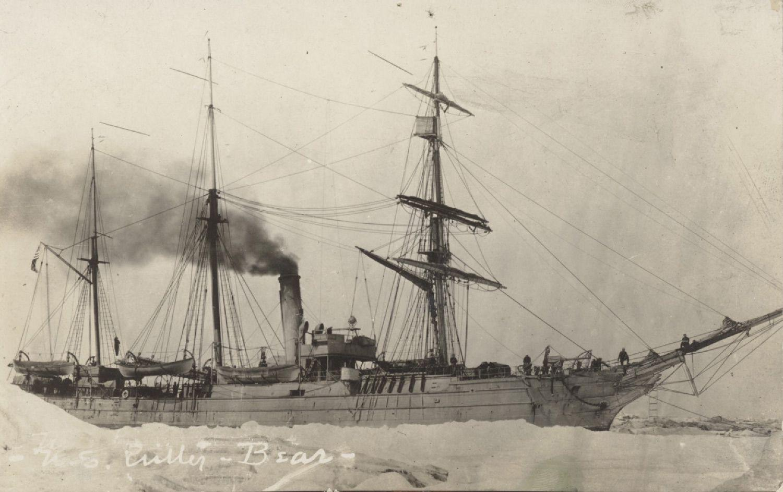 The U.S. Coast Guard cutter <em>Bear</em>, moored to sea ice near Nome, Alaska, in 1918.