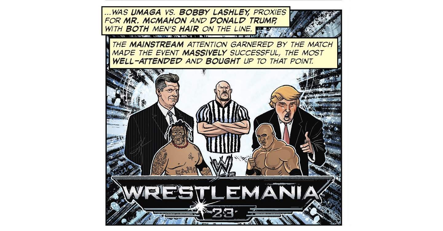 Trumpemania: a spread from 'The Comic Book Story of Professional Wrestling' by Aubrey Sitterson and Chris Moreno