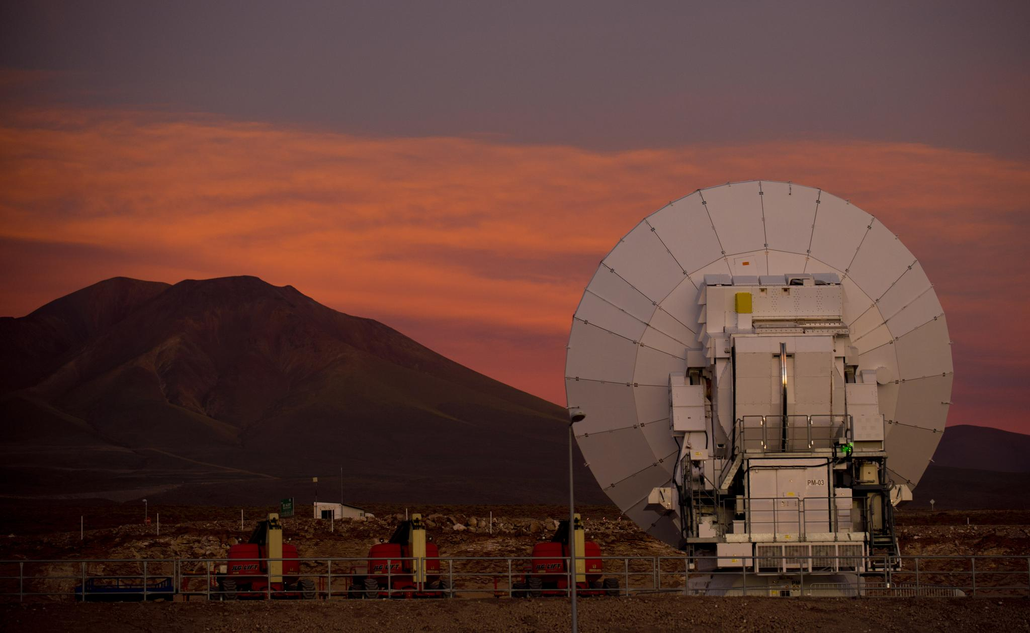 One of 66 radio dishes that make up a telescope in Chile.