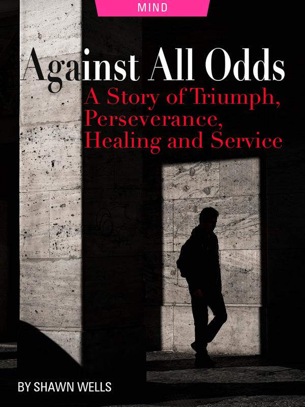 Against All Odds: A Story of Triumph, Perseverance, Healing and Service by Shawn Wells. Photograph of a man with a shadow by Rene Bohmer