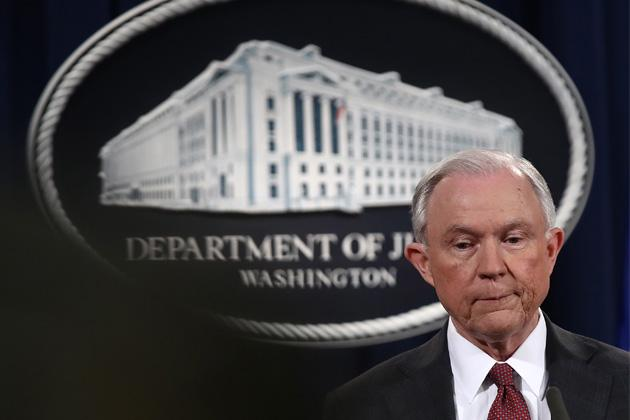 U.S. Attorney General Jeff Sessions answers questions during a press conference at the Department of Justice on March 2, 2017. (Win McNamee/Getty Images)