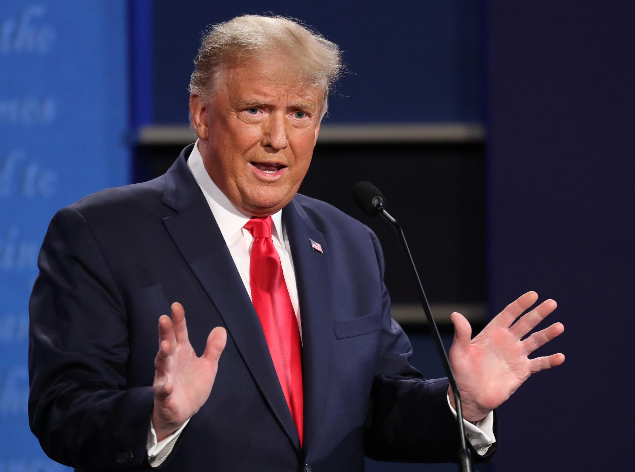 NASHVILLE, TENNESSEE - OCTOBER 22: U.S. President Donald Trump participates in the final presidential debate against Democratic presidential nominee Joe Biden at Belmont University on October 22, 2020 in Nashville, Tennessee. This is the last debate between the two candidates before the election on November 3. (Photo by Chip Somodevilla/Getty Images)