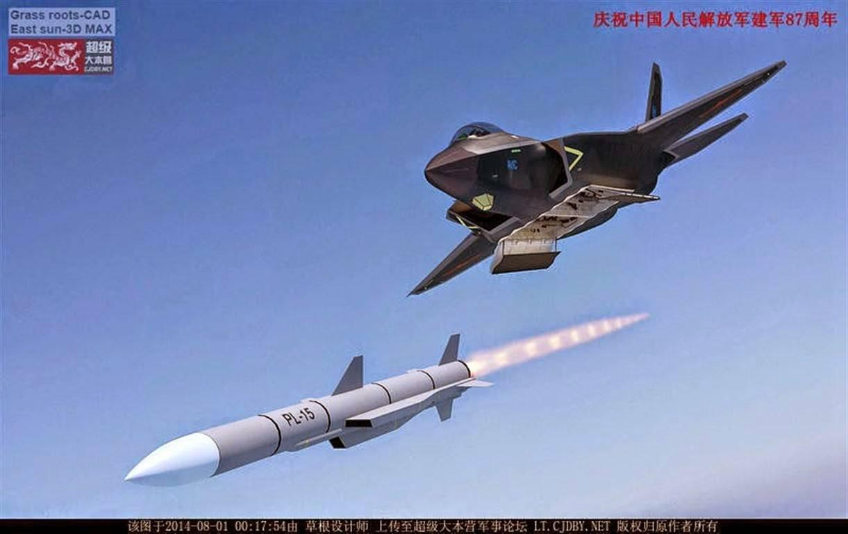 This 2014 computer-generated image shows a J-31 stealth fighter launching a long-range ramjet BVRAAM (beyond-visual-range air-to-air missile).