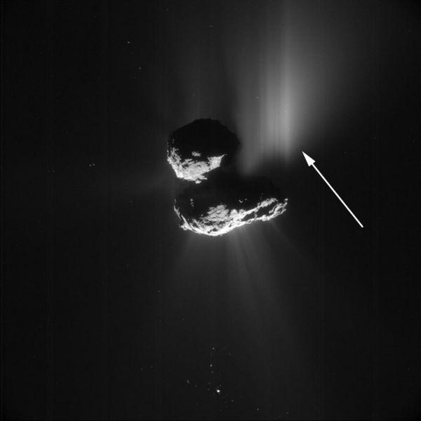 Dust trail from Aswan cliff collapse on Comet 67P