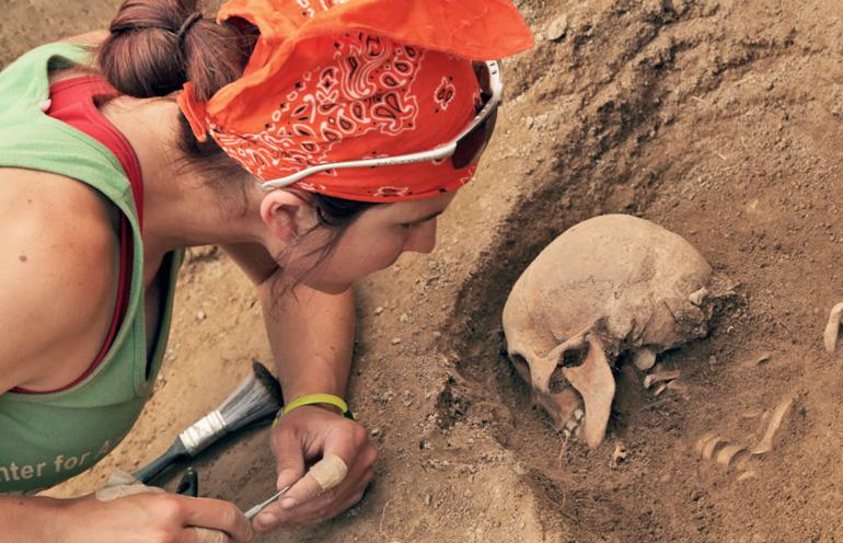 Elissa Bullion uncovers an ancient skull