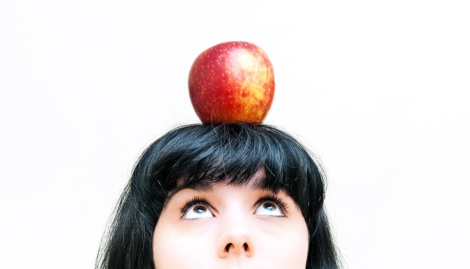 apple on head (genetically modified foods concept)