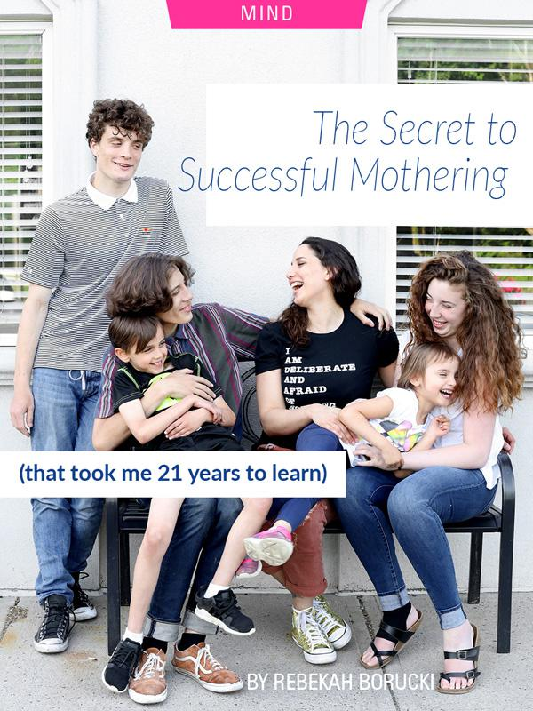 The Secret to Successful Mothering (That Took Me 21 Years to Learn) by Rebekah Borucki. Photograph of Rebekah and her family laughing / playing