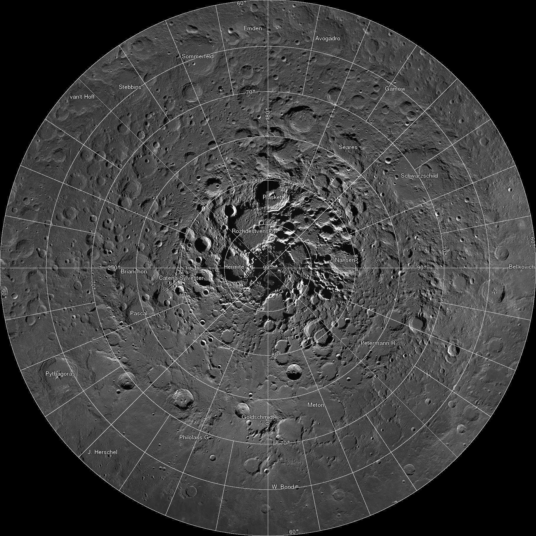 The moon's north pole region. Philolaus Crater is located at around 7 if the image were a clock face, two thirds of the way out from the pole itself.