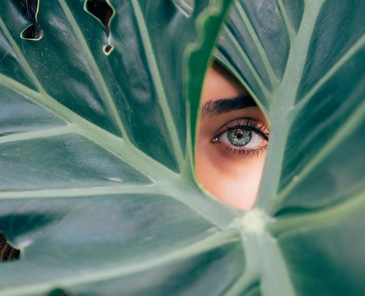 6 Simple & Healthy Choices For You, Your Home and Our Planet by Sasha Nailla. Photograph of a woman's eye through a palm leaf by Drew Graham