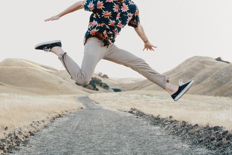 Spontaneity, Intuition, photograph of man jumping by Caleb Woods